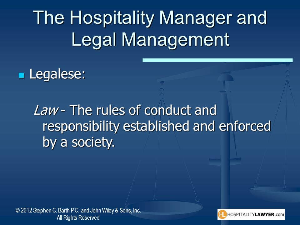 The Hospitality Manager and Legal Management