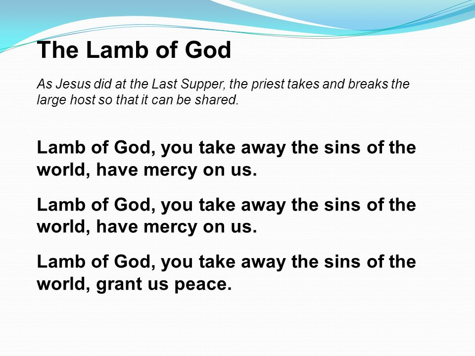 The Lamb of God As Jesus did at the Last Supper, the priest takes and breaks the large host so that it can be shared.