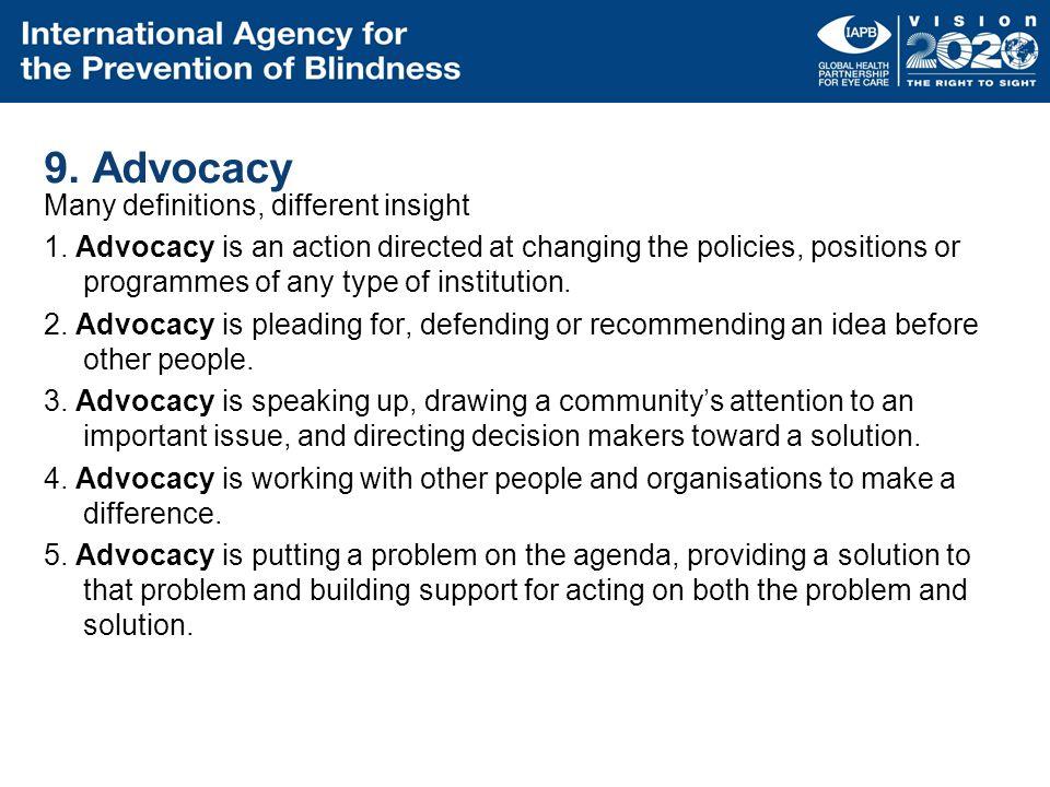 9. Advocacy
