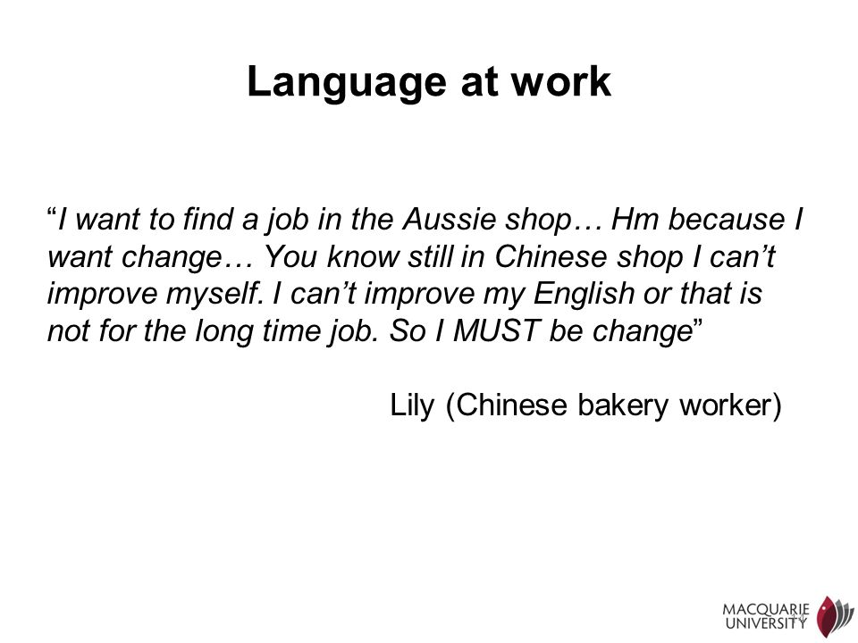 Language at work