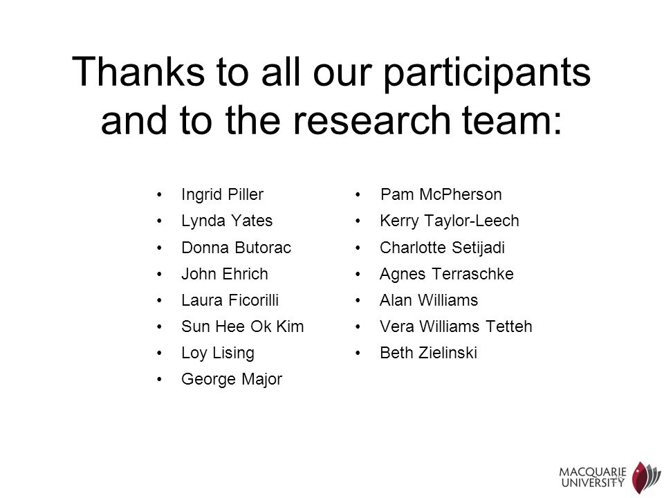 Thanks to all our participants and to the research team: