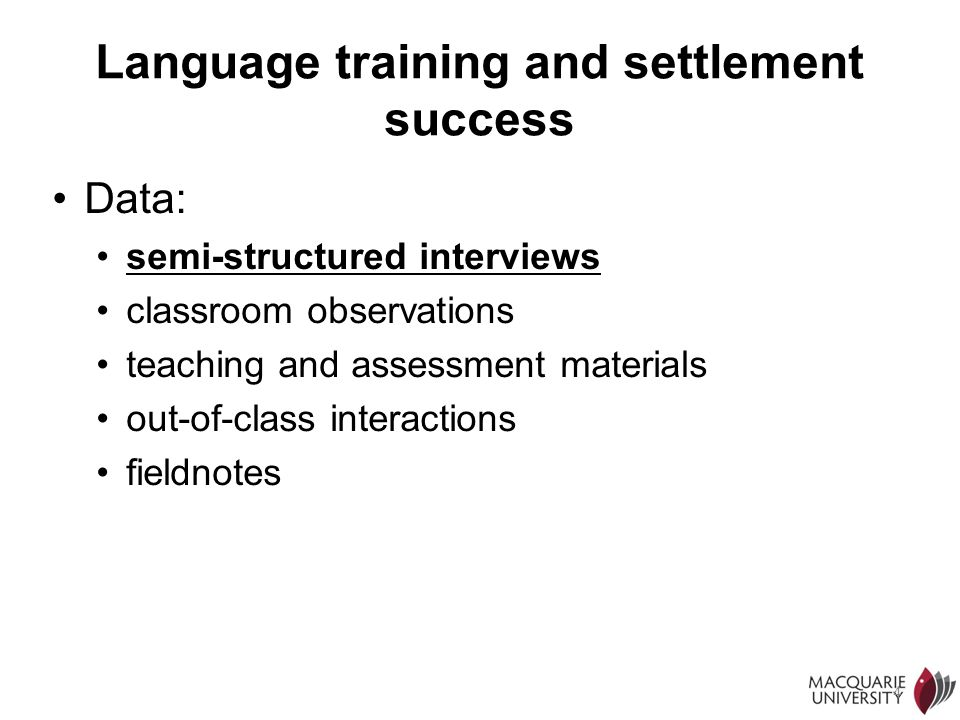 Language training and settlement success