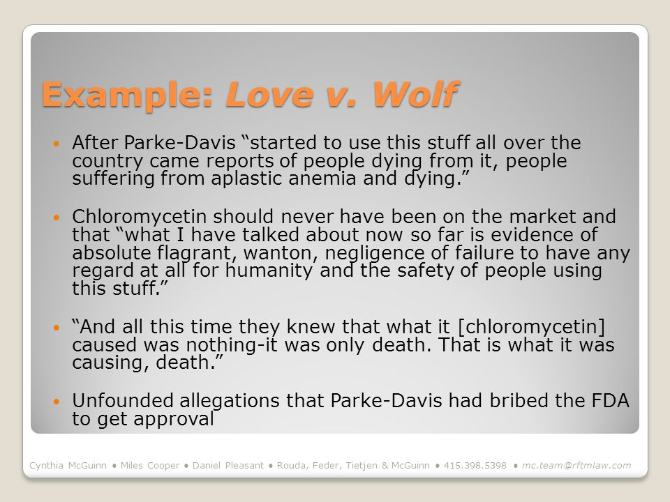 Example: Love v. Wolf