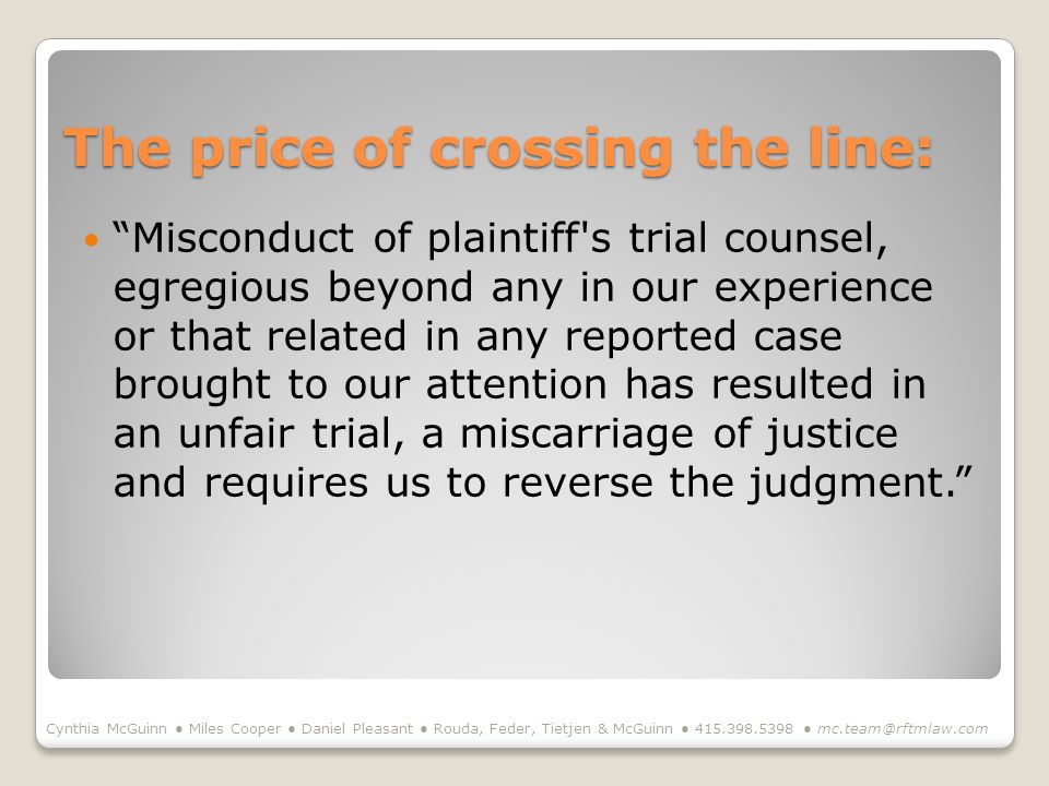 The price of crossing the line: