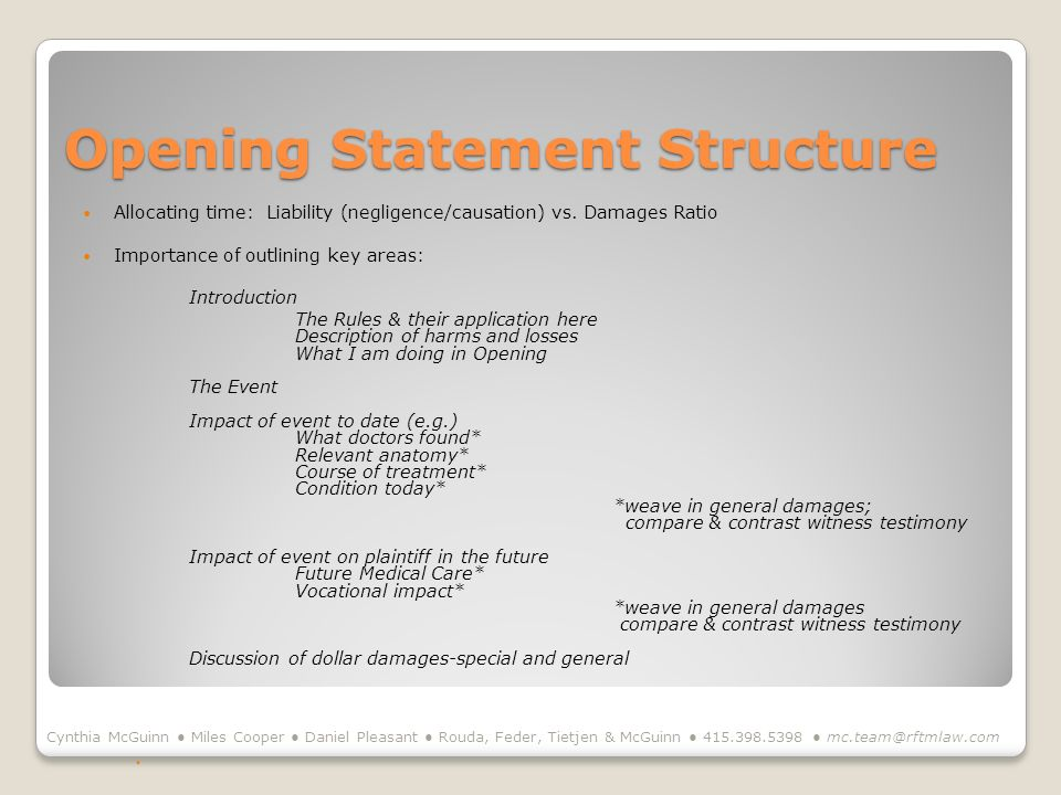 Opening Statement Structure