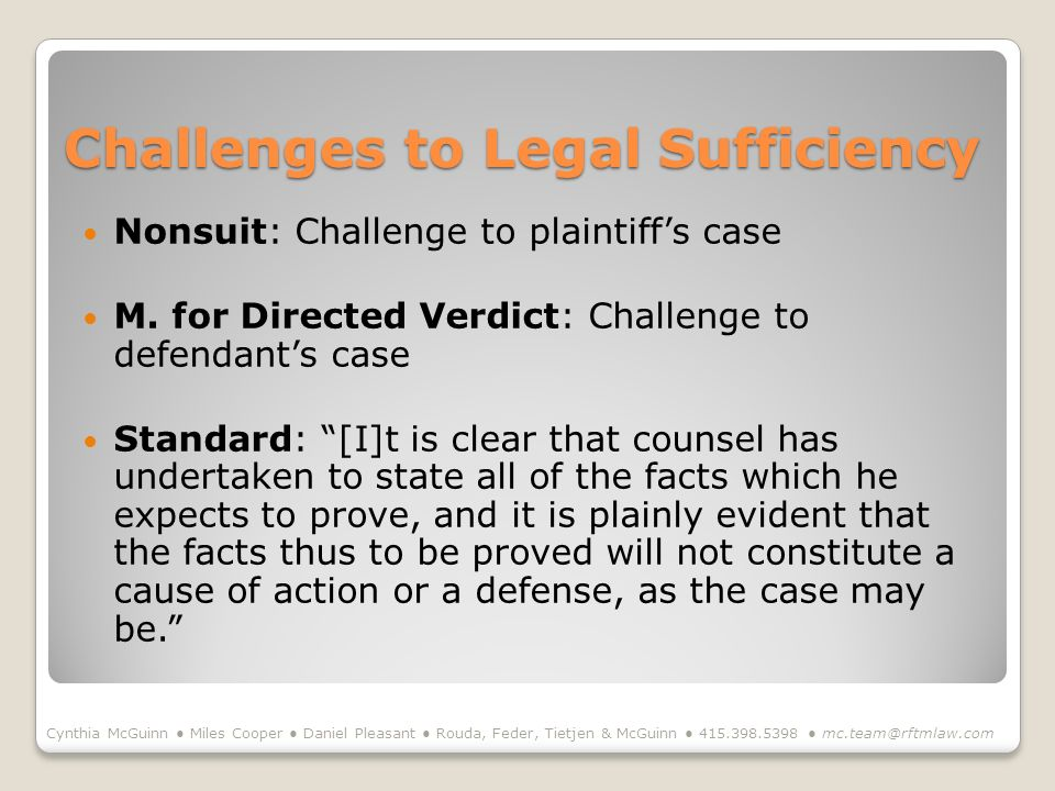 Challenges to Legal Sufficiency