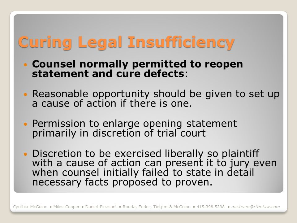 Curing Legal Insufficiency