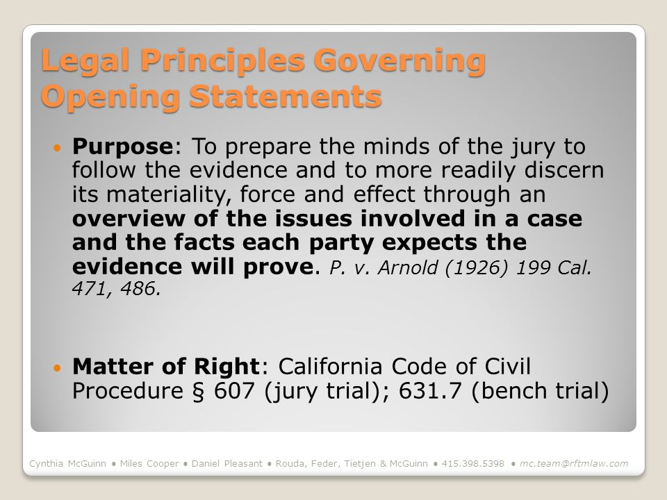 Legal Principles Governing Opening Statements