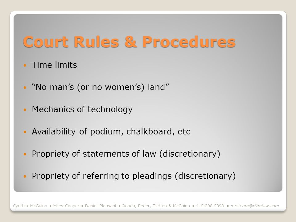Court Rules & Procedures