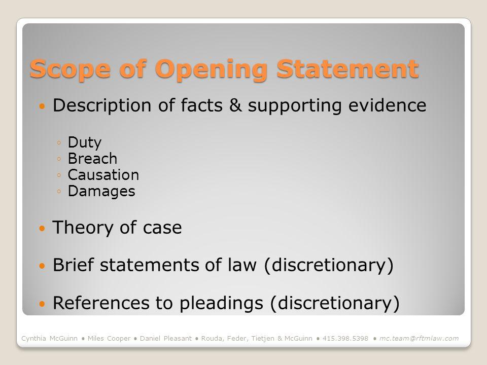Scope of Opening Statement