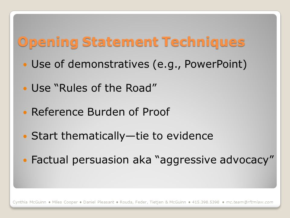 Opening Statement Techniques