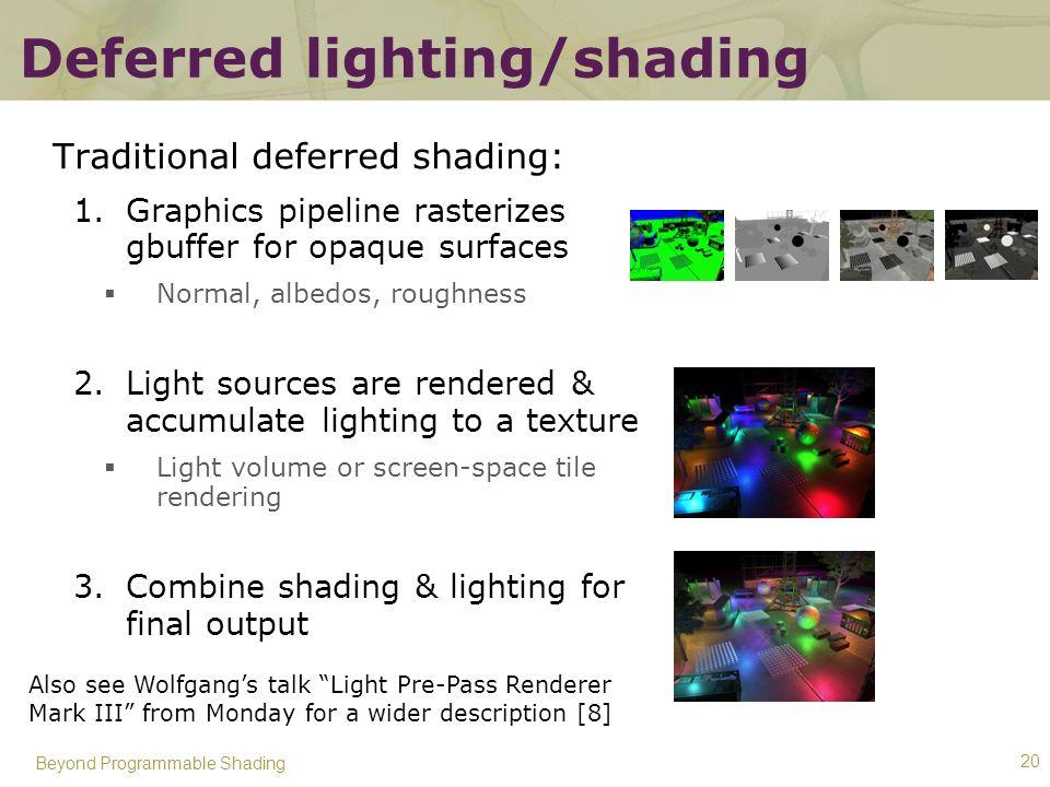 Deferred lighting/shading
