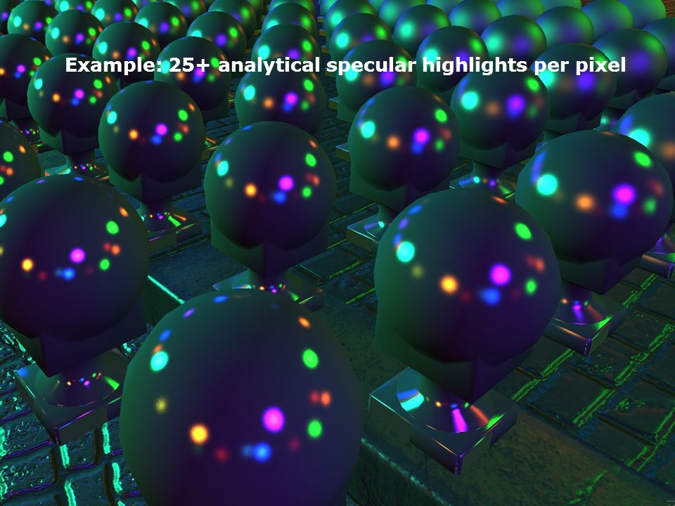 Example: 25+ analytical specular highlights per pixel