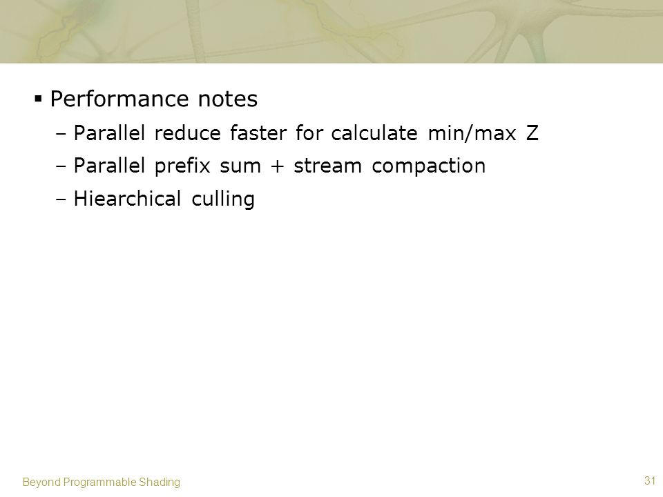 Performance notes Parallel reduce faster for calculate min/max Z