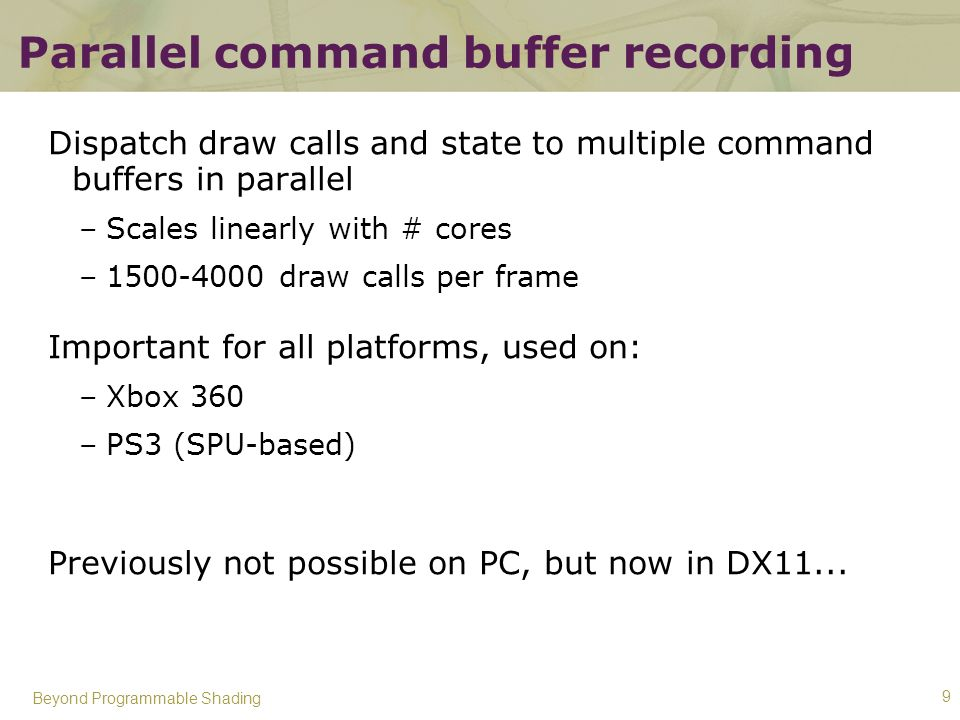 Parallel command buffer recording