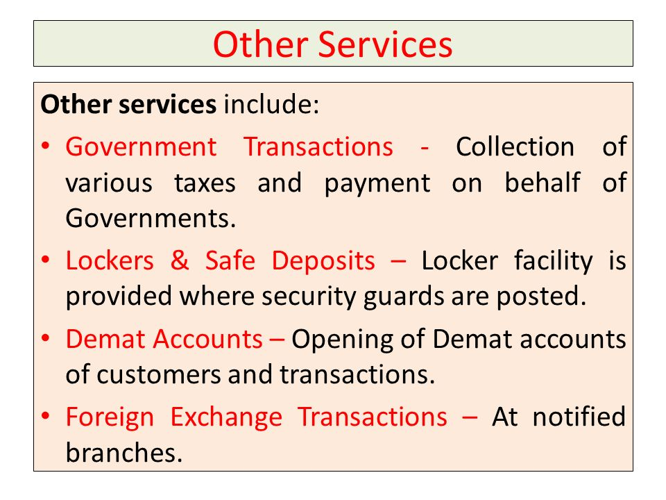 Other Services Other services include:
