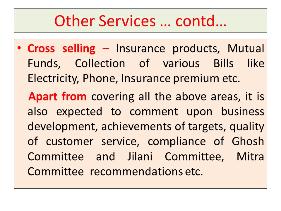 Other Services … contd…