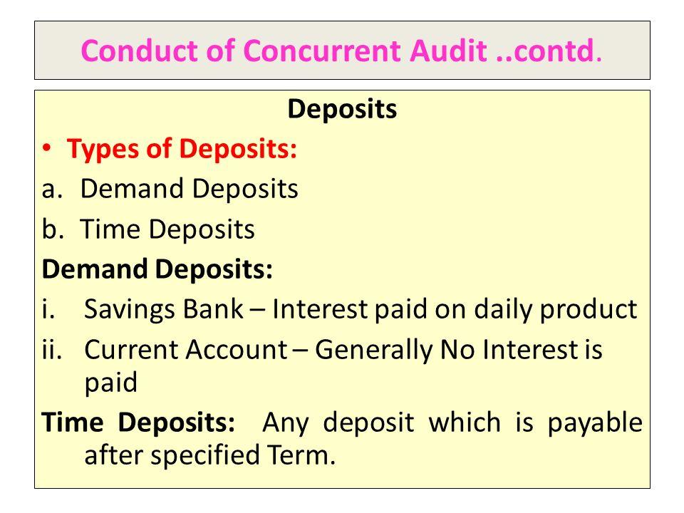 Conduct of Concurrent Audit ..contd.