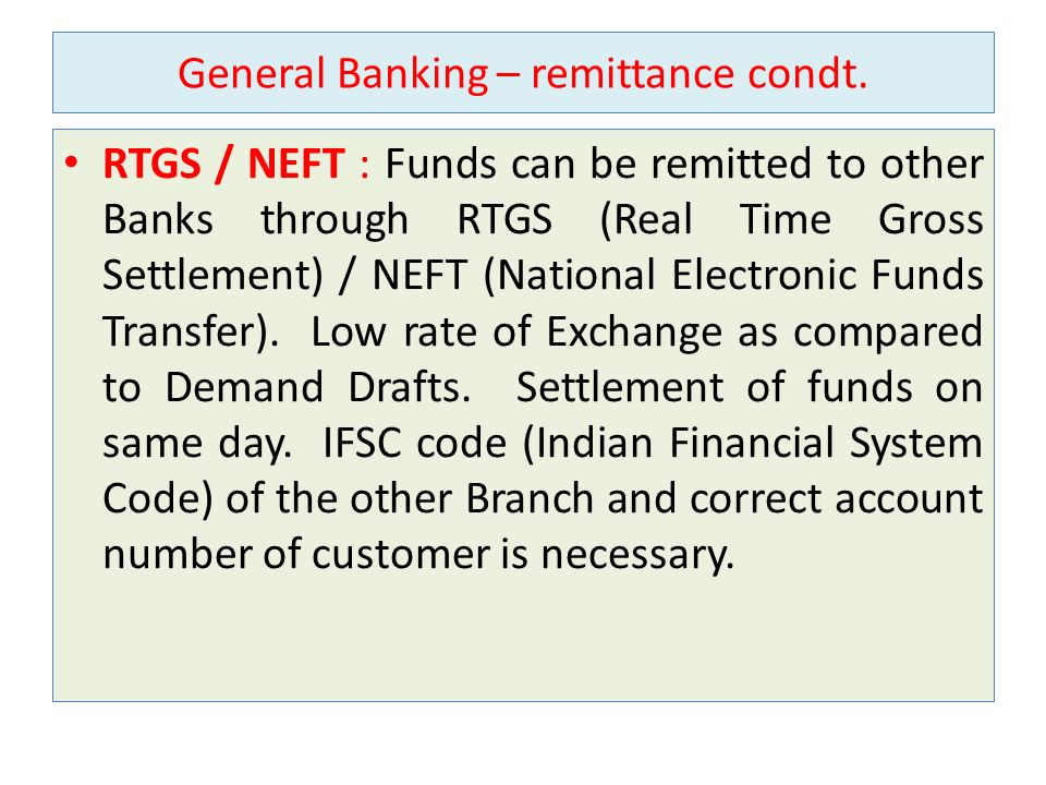 General Banking – remittance condt.