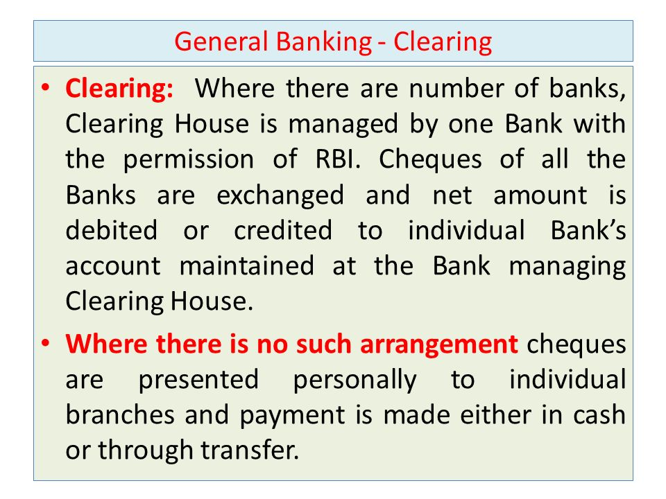 General Banking - Clearing
