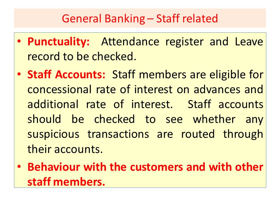 General Banking – Staff related