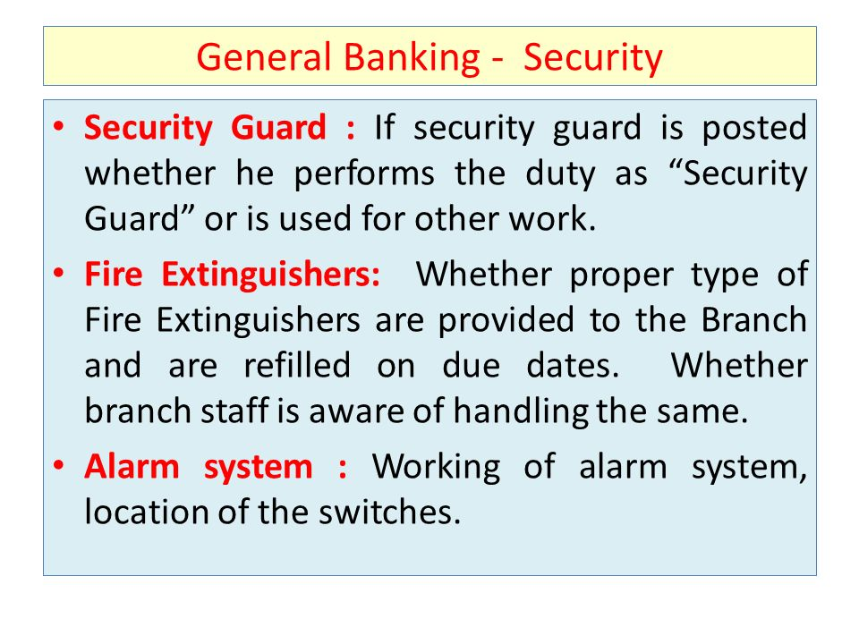 General Banking - Security