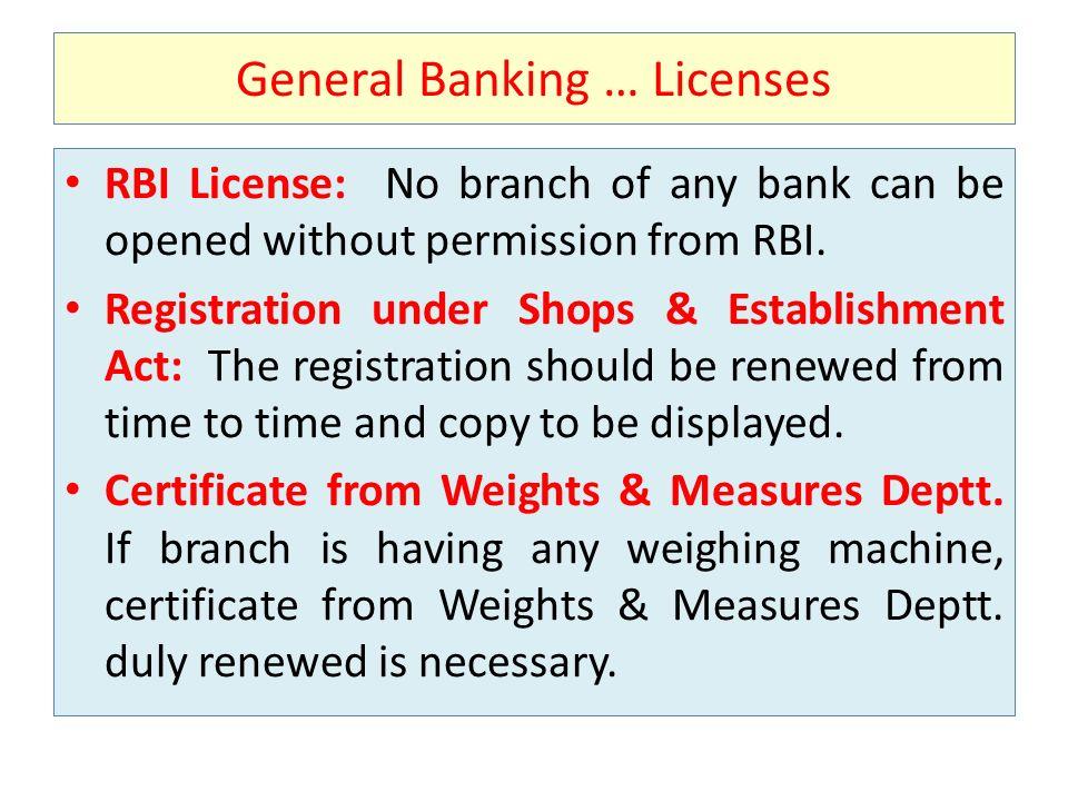 General Banking … Licenses