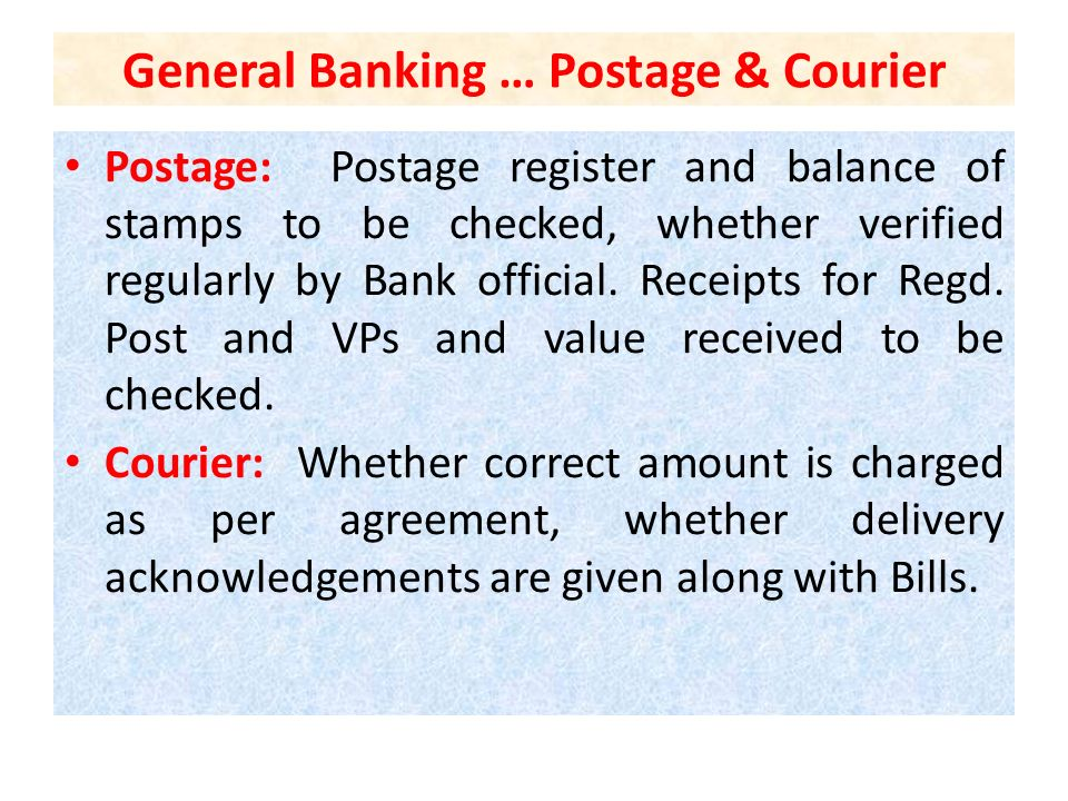 General Banking … Postage & Courier