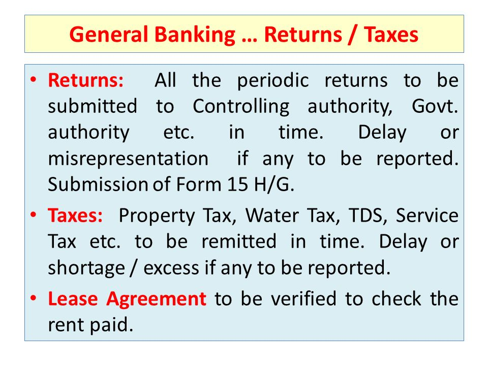 General Banking … Returns / Taxes