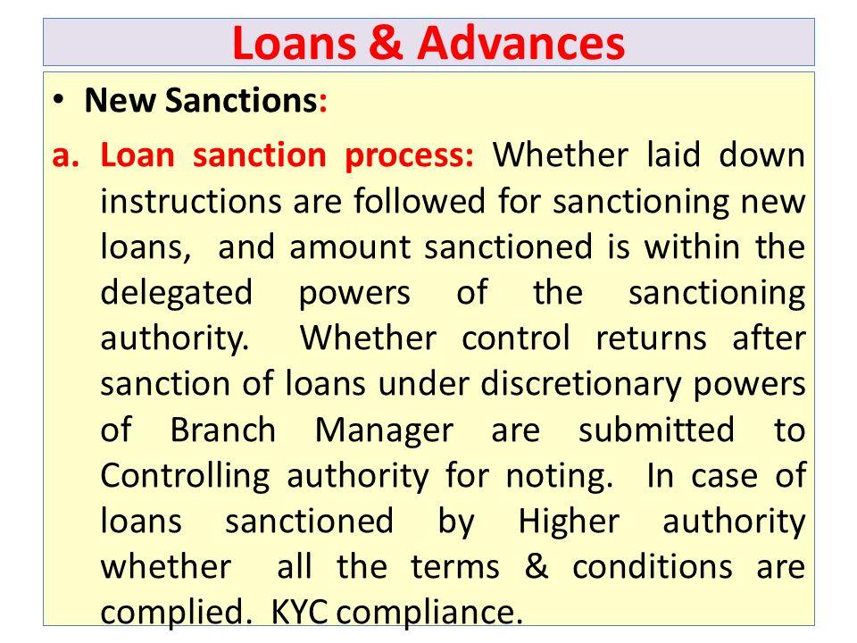 Loans & Advances New Sanctions: