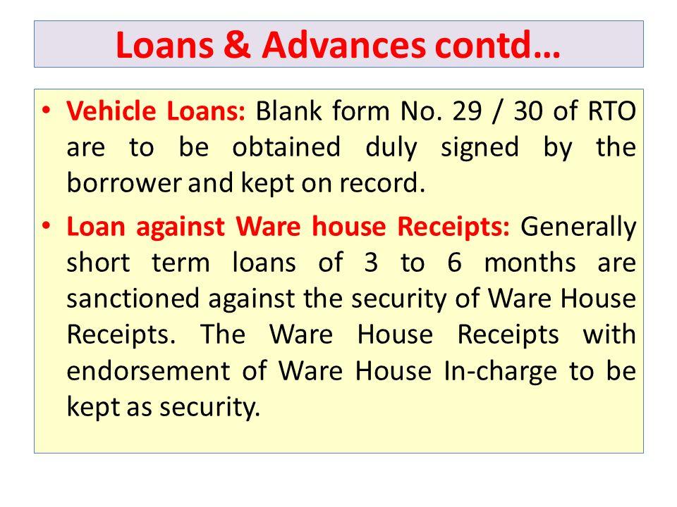 Loans & Advances contd…