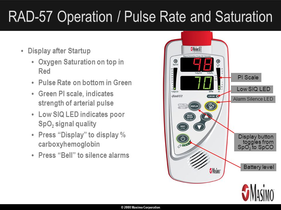RAD-57 Operation / Pulse Rate and Saturation