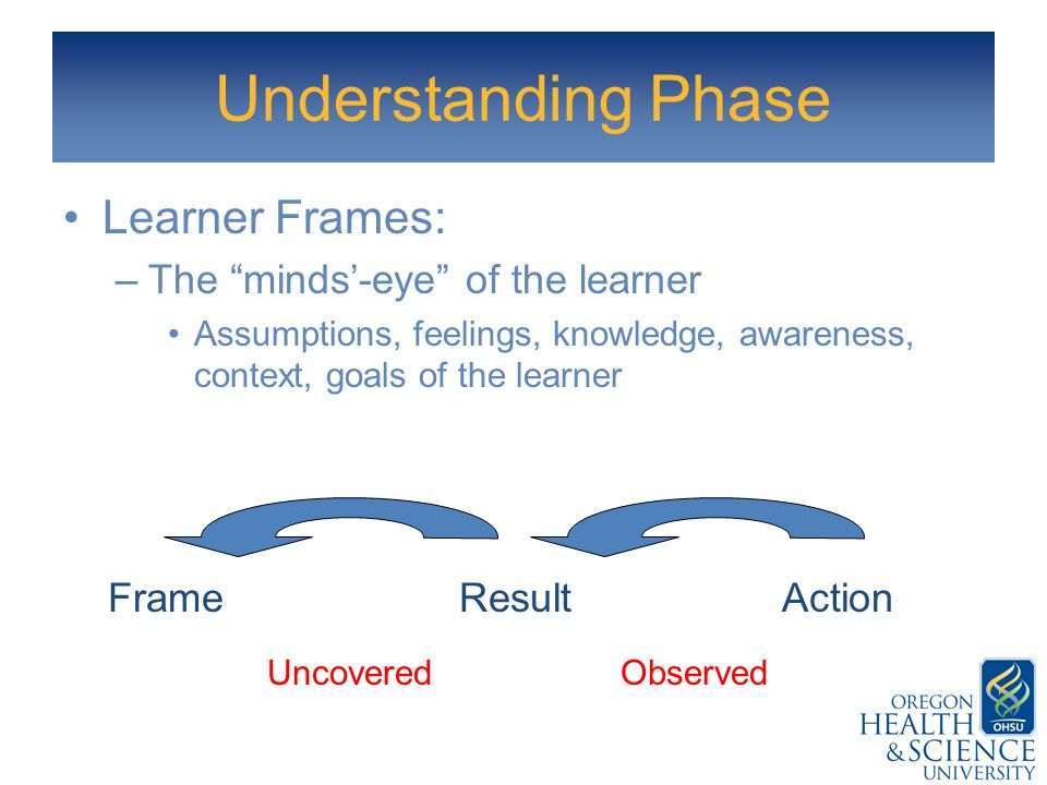 Understanding Phase Learner Frames: The minds'-eye of the learner