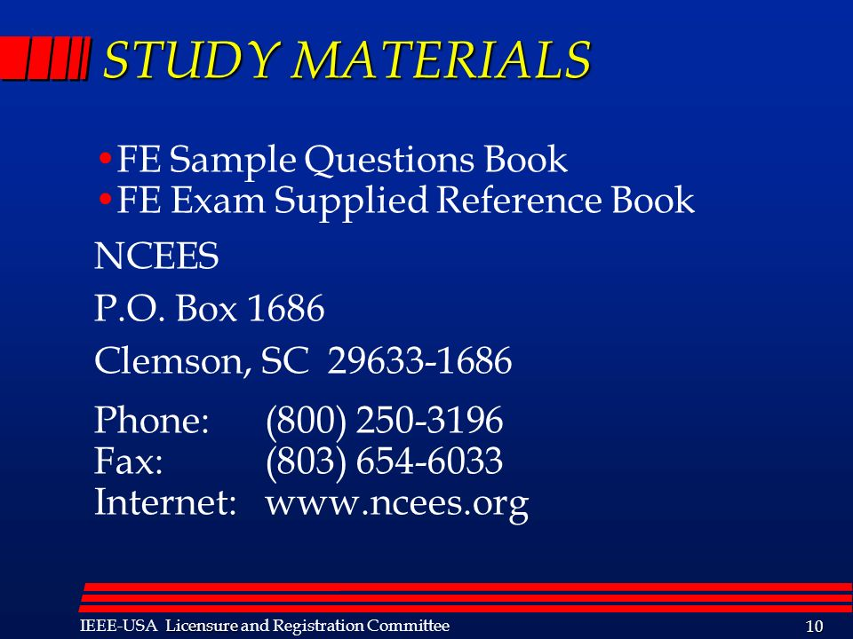 STUDY MATERIALS FE Sample Questions Book