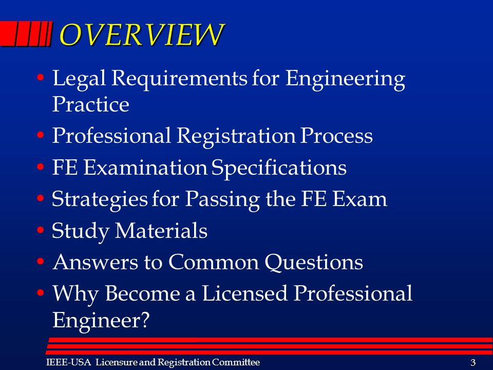 OVERVIEW Legal Requirements for Engineering Practice