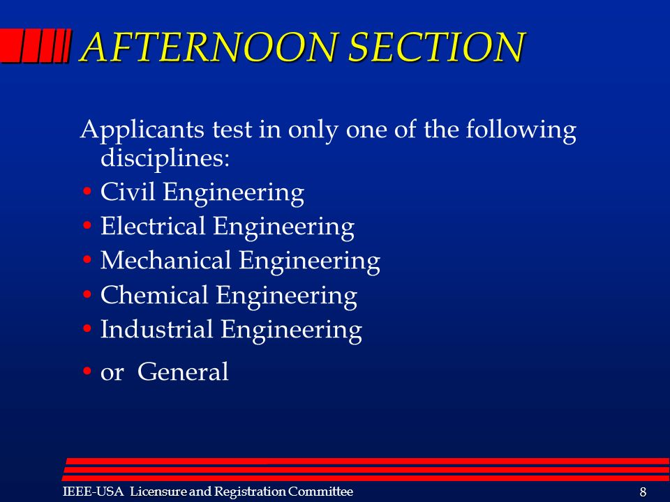 AFTERNOON SECTION Applicants test in only one of the following disciplines: Civil Engineering. Electrical Engineering.
