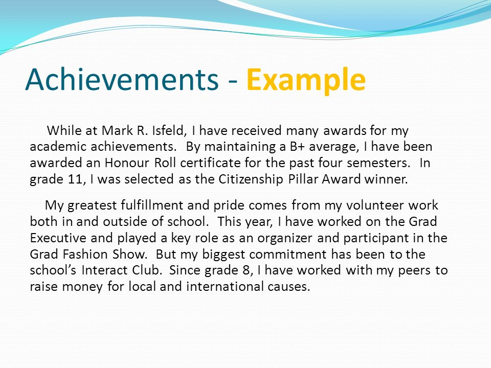 Examples of essay about my personal achievement