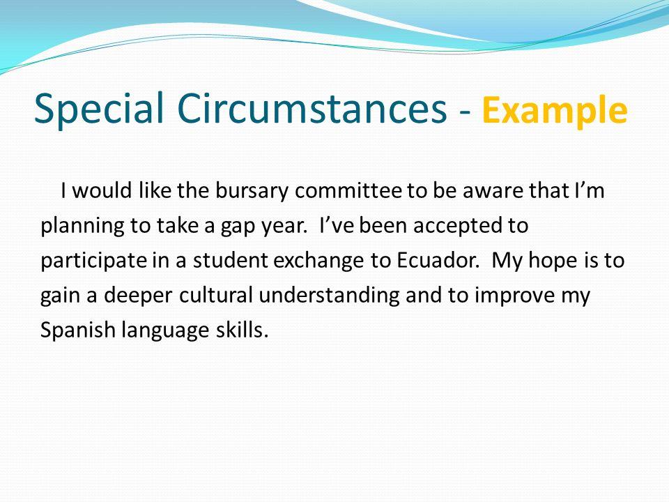 Special Circumstances - Example