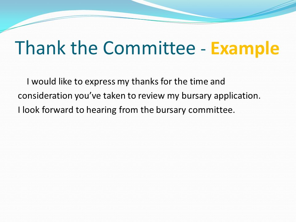 Thank the Committee - Example