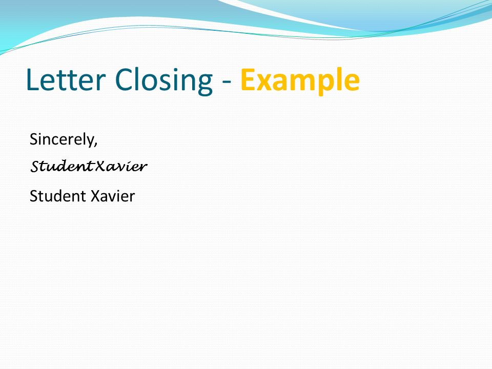Letter Closing - Example