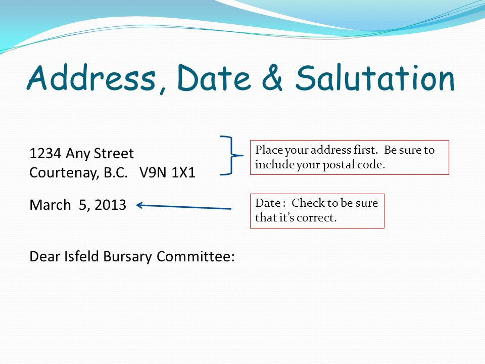 Address, Date & Salutation