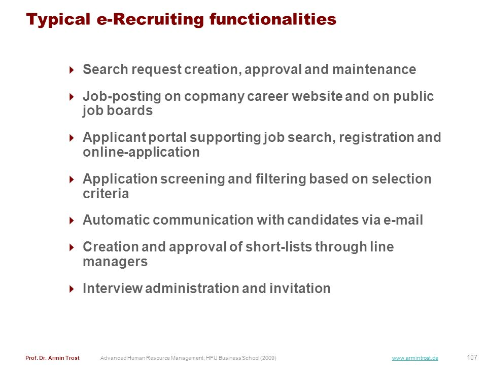 Typical e-Recruiting functionalities
