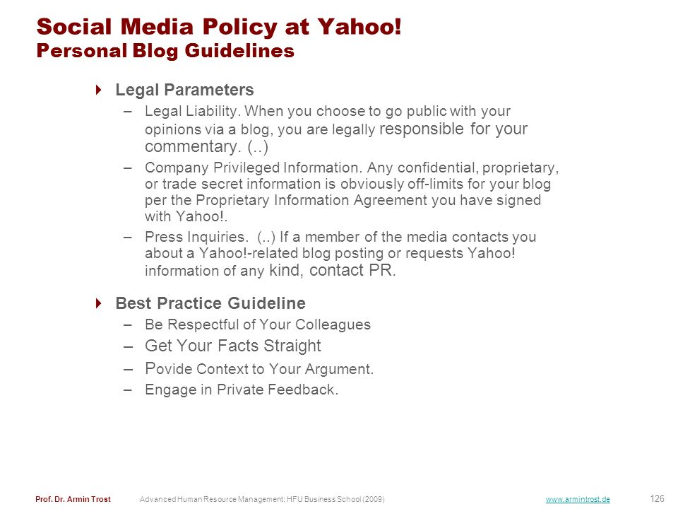 Social Media Policy at Yahoo! Personal Blog Guidelines