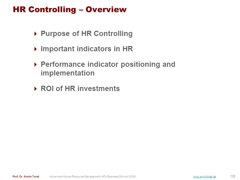 HR Controlling – Overview