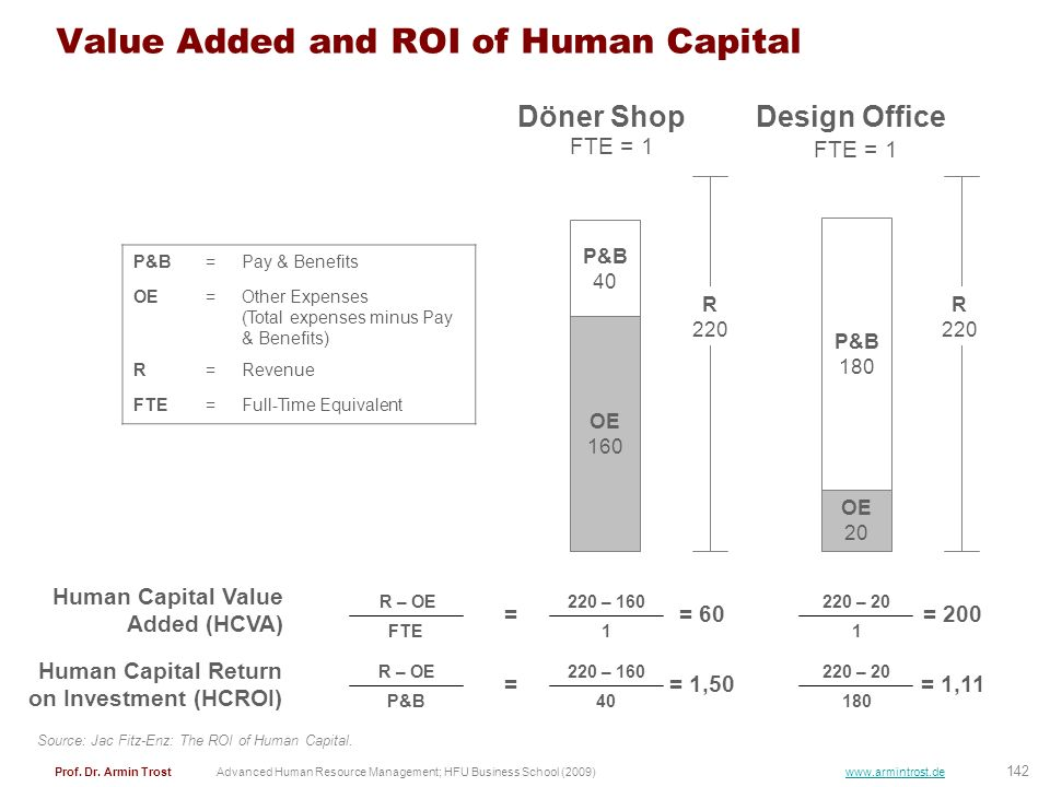 Value Added and ROI of Human Capital