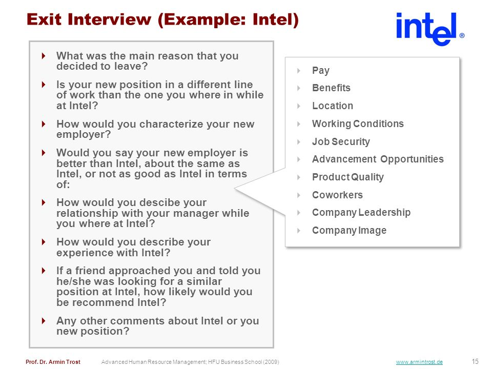 Exit Interview (Example: Intel)