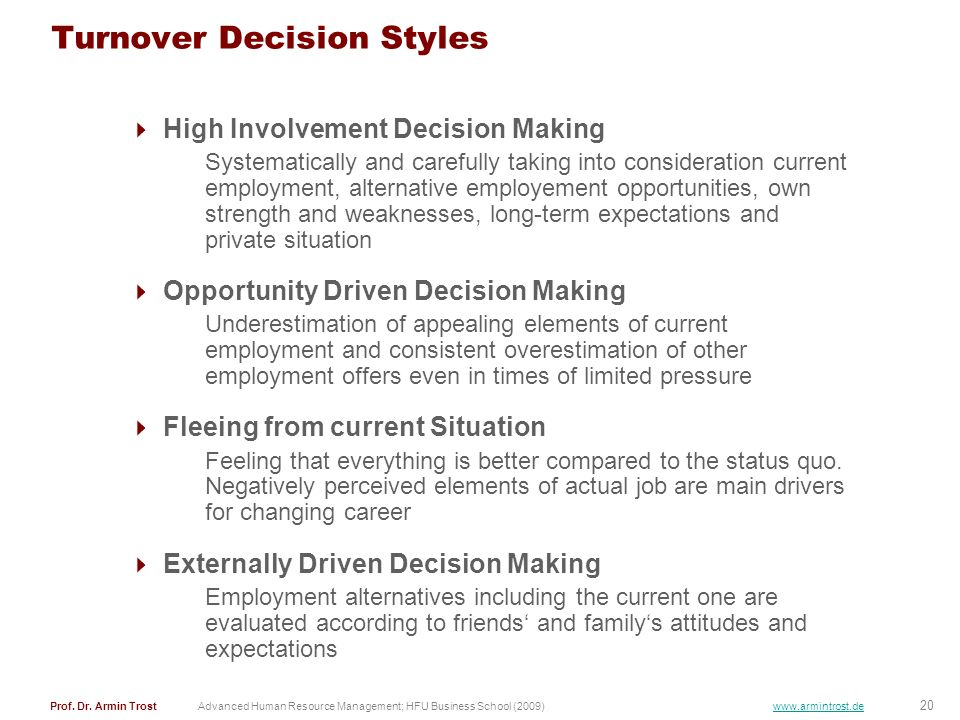 Turnover Decision Styles