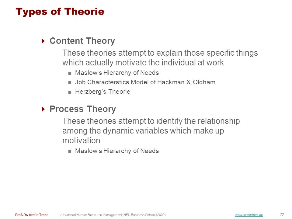 Types of Theorie Content Theory Process Theory