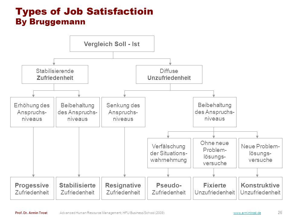 Types of Job Satisfactioin By Bruggemann