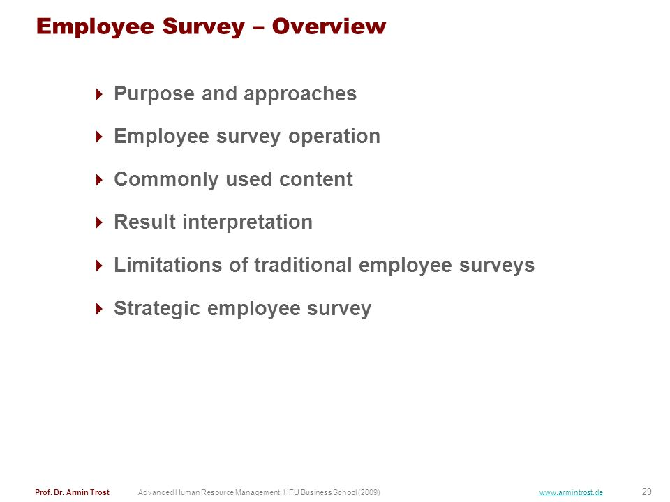 Employee Survey – Overview